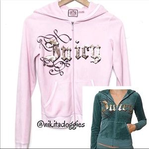 Juicy Couture Bling Logo Velvety Velour Hoodie